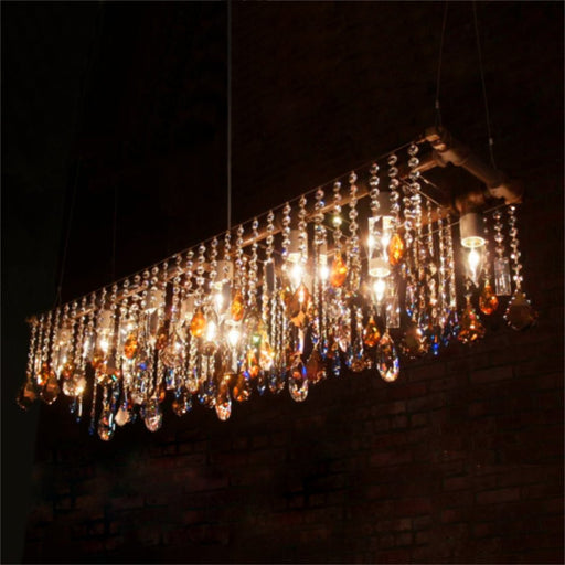 Industrial Swarovski Banqueting Chandelier - Unique Artistic industrial chic modern crystal linear chandeliers, pendants, lamps and lighting from Michael McHale Designs