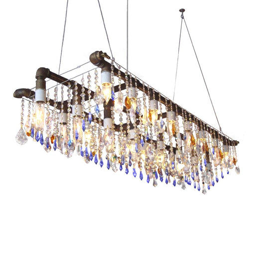 Industrial Swarovski Triple Rail Chandelier - unique artistic lighting from Michael McHale Designs