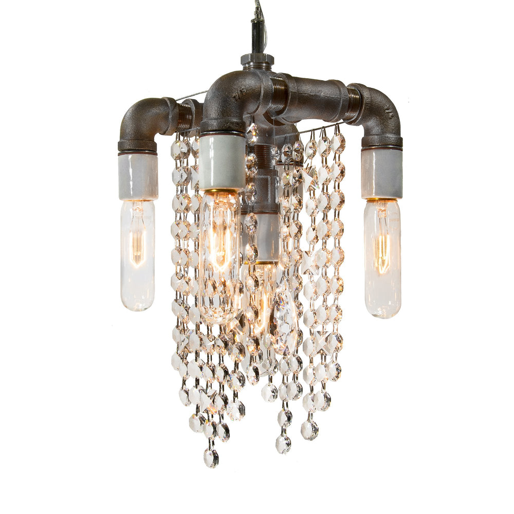 Industrial Collection Five Bulb Compact Pendant Chandelier - unique artistic lighting from Michael McHale Designs