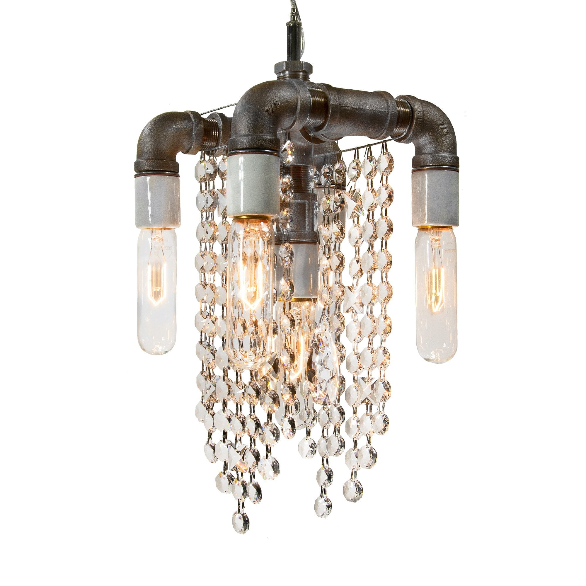 Industrial Collection Five Bulb Compact Pendant Chandelier