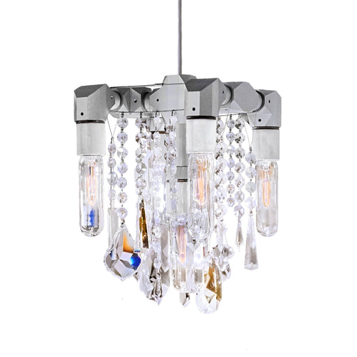 Bryce Swarovski Five-Bulb Chandelier Pendant - Unique Artistic industrial chic modern crystal linear chandeliers, pendants, lamps and lighting from Michael McHale Designs
