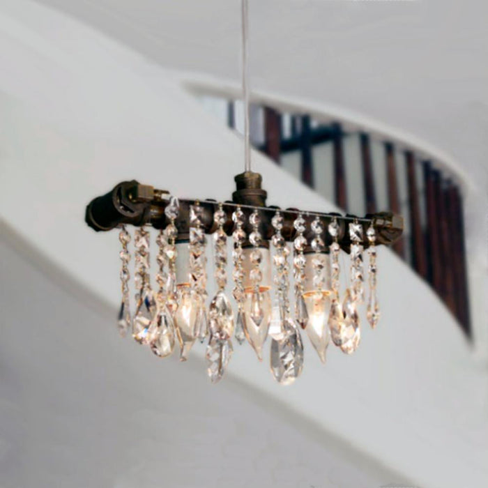 Industrial Swarovski Three-Bulb Pendant - unique artistic lighting from Michael McHale Designs