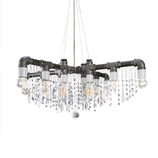 Industrial Swarovski X-Chandelier - Unique Artistic industrial chic modern crystal linear chandeliers, pendants, lamps and lighting from Michael McHale Designs