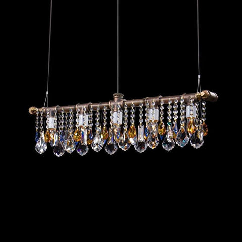 Industrial Swarovski Linear Chandelier