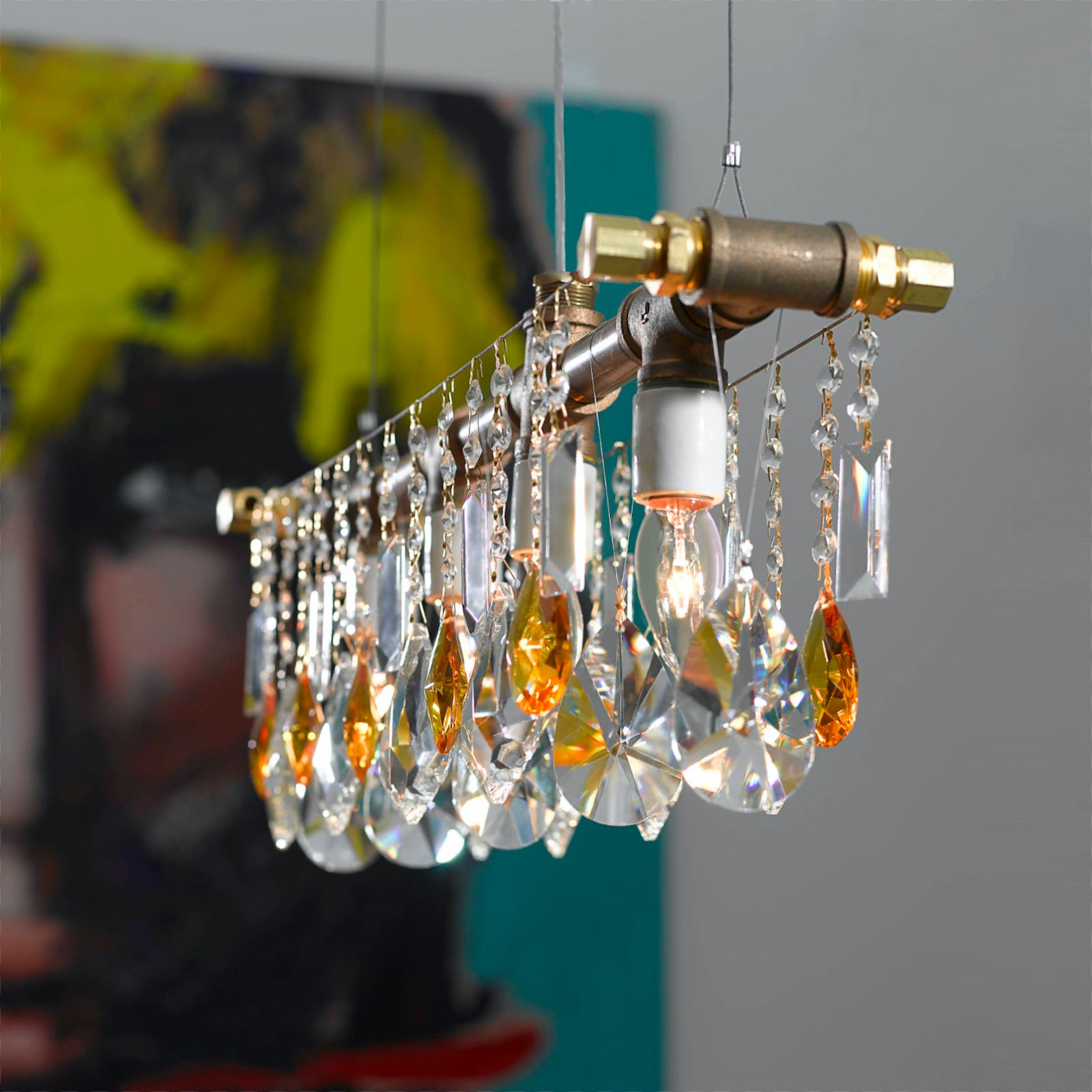The Industrial 5-Bulb Bar Chandelier in Bronze