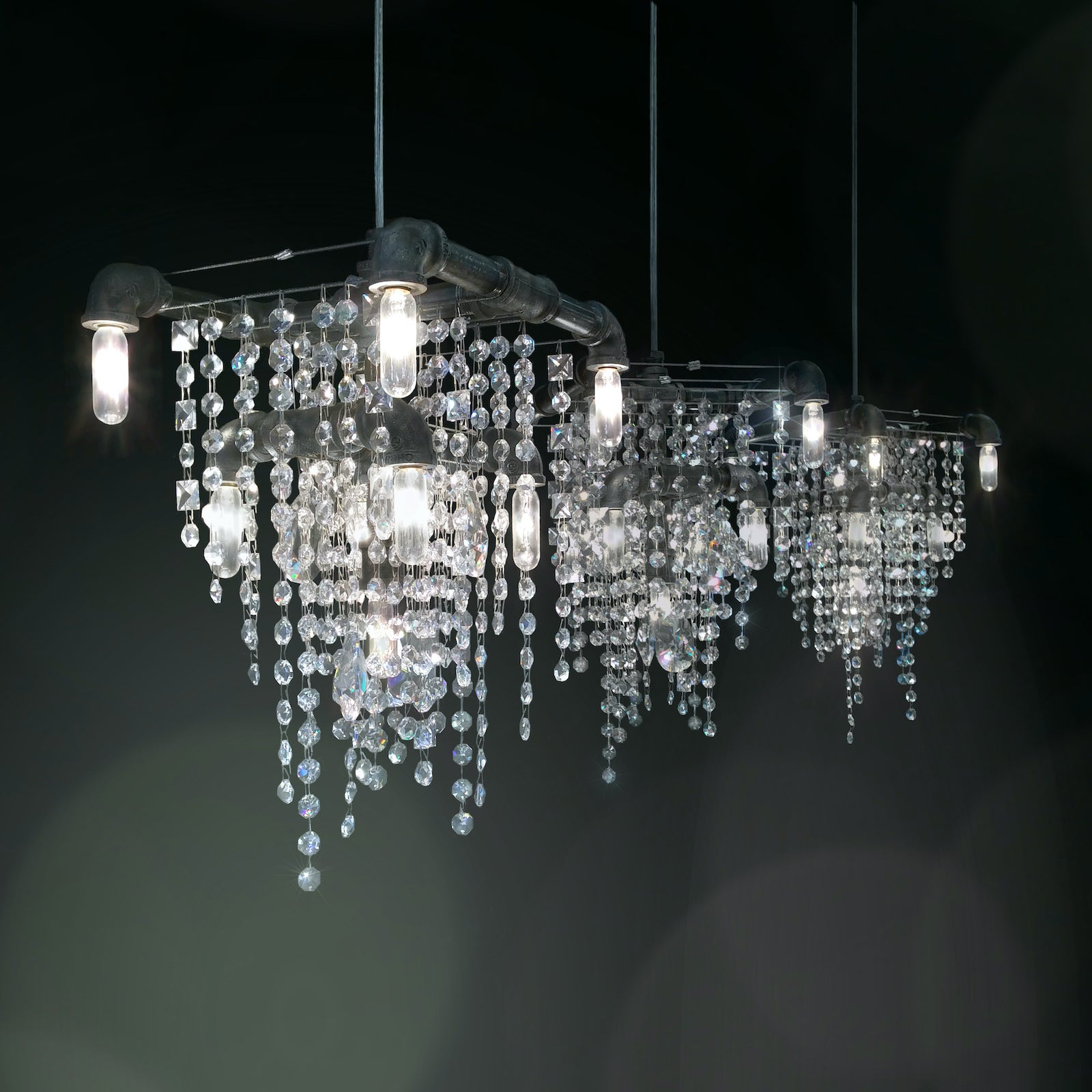 Three Tribeca 9-Bulb Compact Pendant Chandeliers