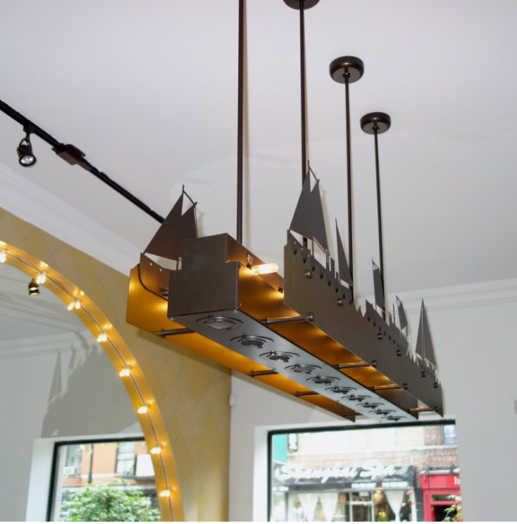Custom Fixtures from your own designs (like this naval-themed Oyster Bar Linear Suspension)