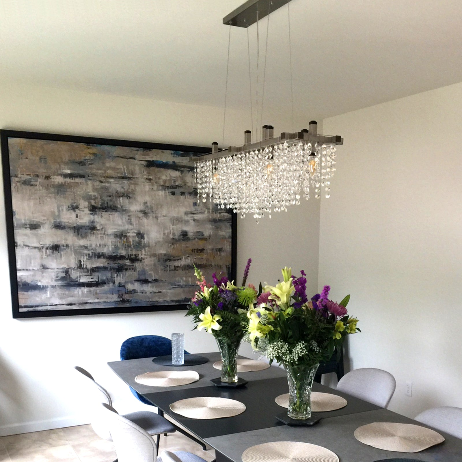 A Matrix Crystal Chandelier over a dining room table
