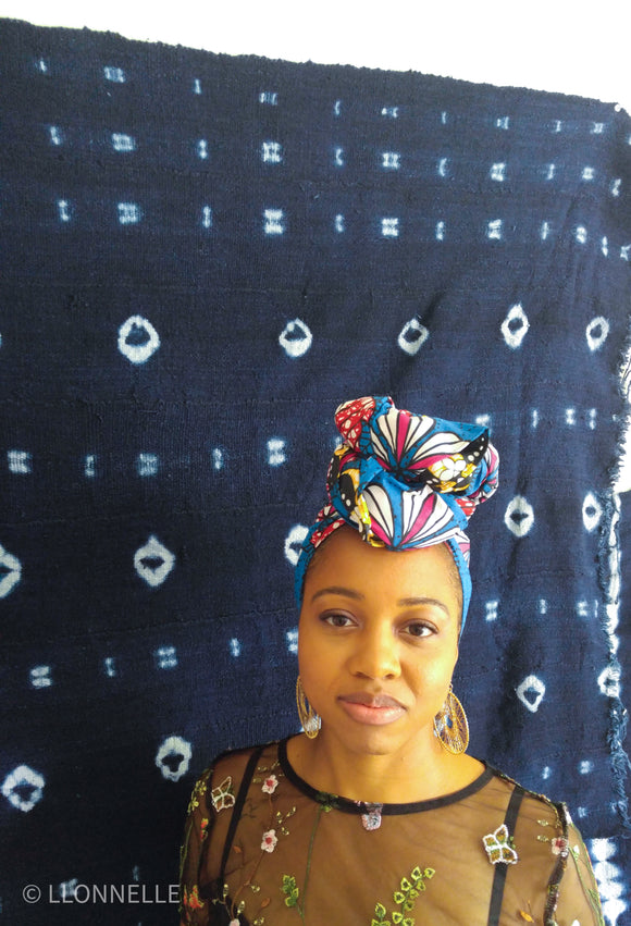 Ankara Blue Flower Headwrap