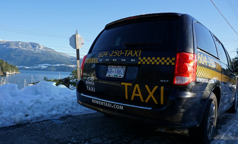 Back view of taxi with snow, water and mountains in the background