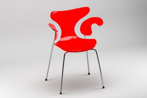 Image of a funky red chair on grey background to show that Bowen Taxi moves light furniture.