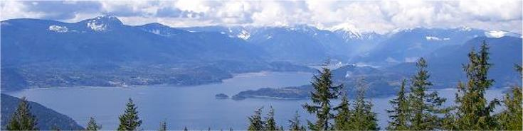 Scenic mountain top view of Bowen Island mountains and ocean