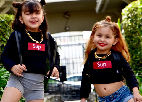 "Black ""SUP"" crop sweater"