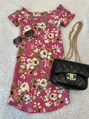 Sassy Me Floral Dress (Royal Pink)