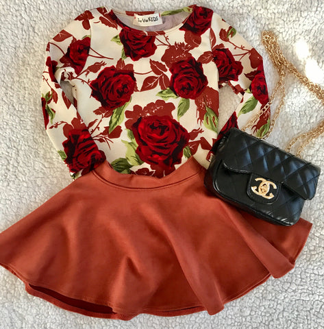 Mid-Sleeve Rose Leotard