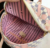 Pink Print Elegant Shoulder Backpack