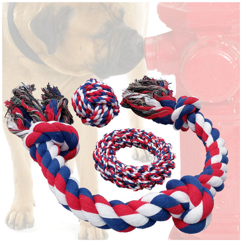Otterly Pets Dog Toys (BIG SIZE 3-PACK) - Tough Durable Rope Toy Set for Medium to Large Dogs