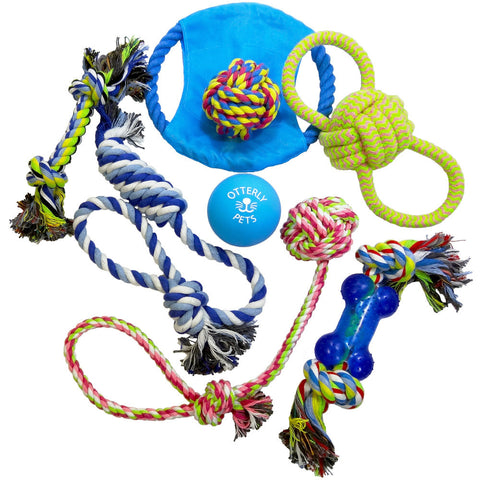 Otterly Pets 8-Pack Rope Toys and Rubber Ball Set for Small to Medium Dogs