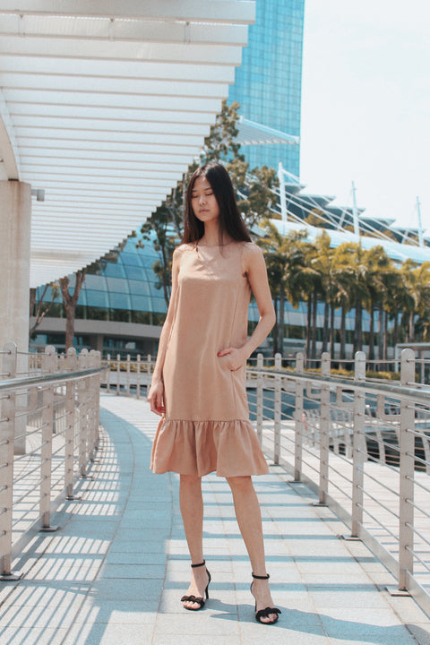 Nara Scallop Dress Beige (78172)
