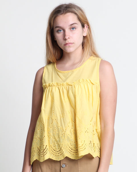 Di Di Sleeveless Flare Top Yellow (18410)