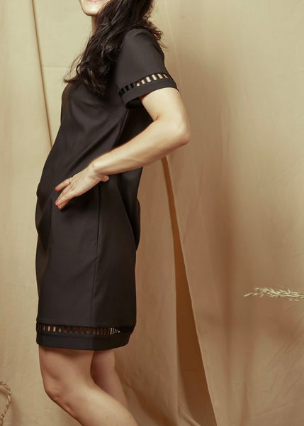 En En Short Sleeve Dress Black(78456)