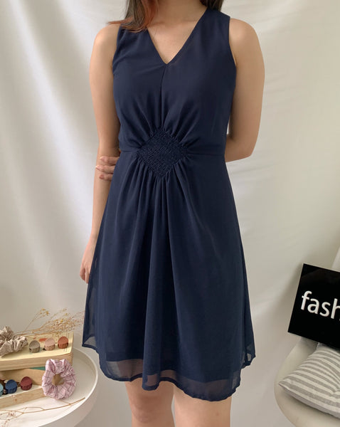 Ruching Chiffon Dress Navy(78092)