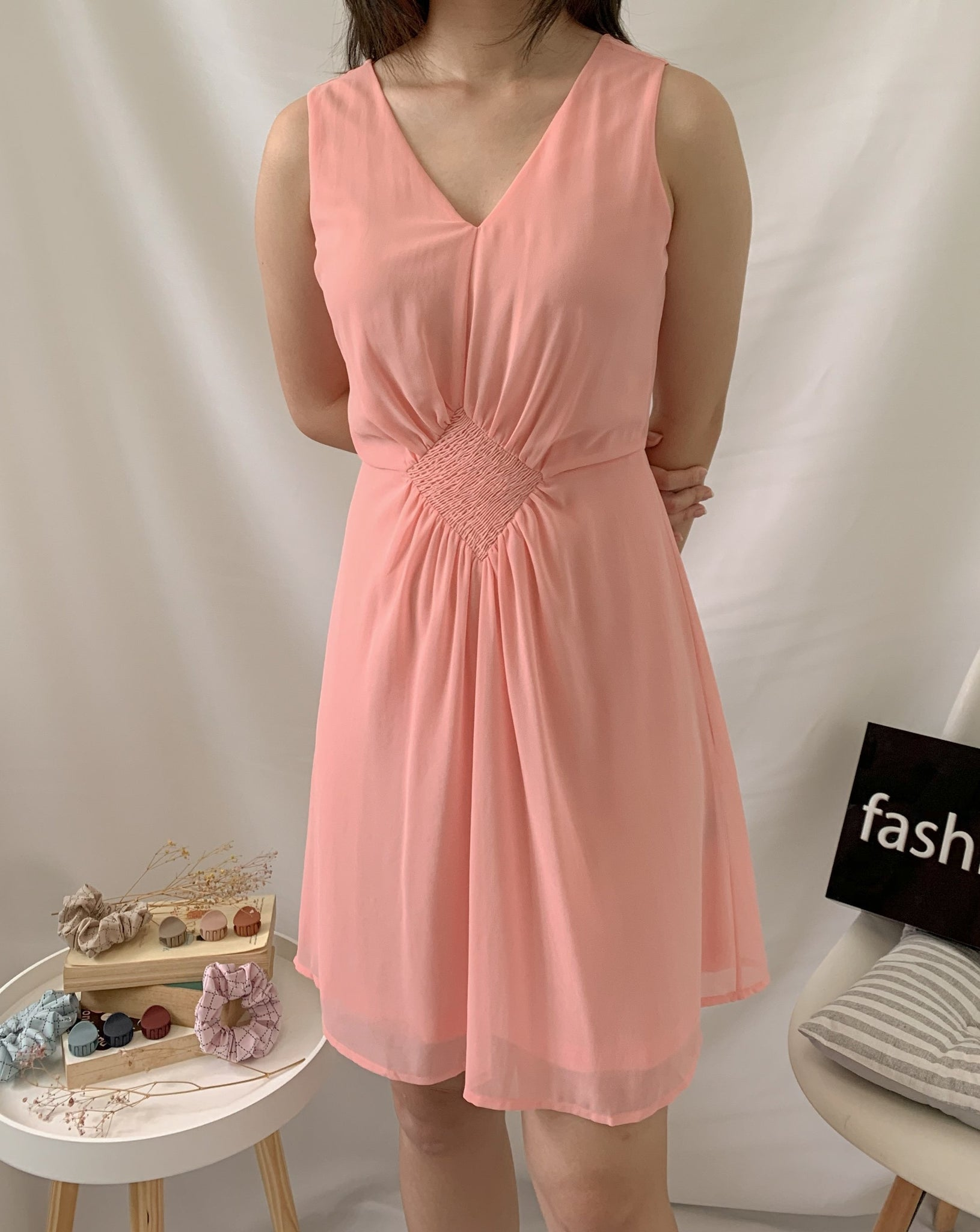 Ruching Chiffon Dress Pink (78092)