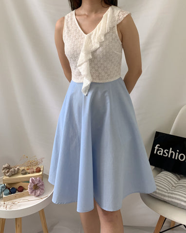Okaya Lace Top Dress Blue (78109)