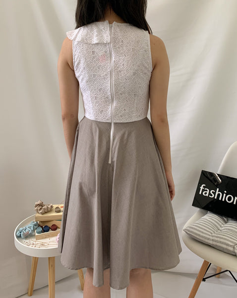Okaya Lace Top Dress Grey (78109)