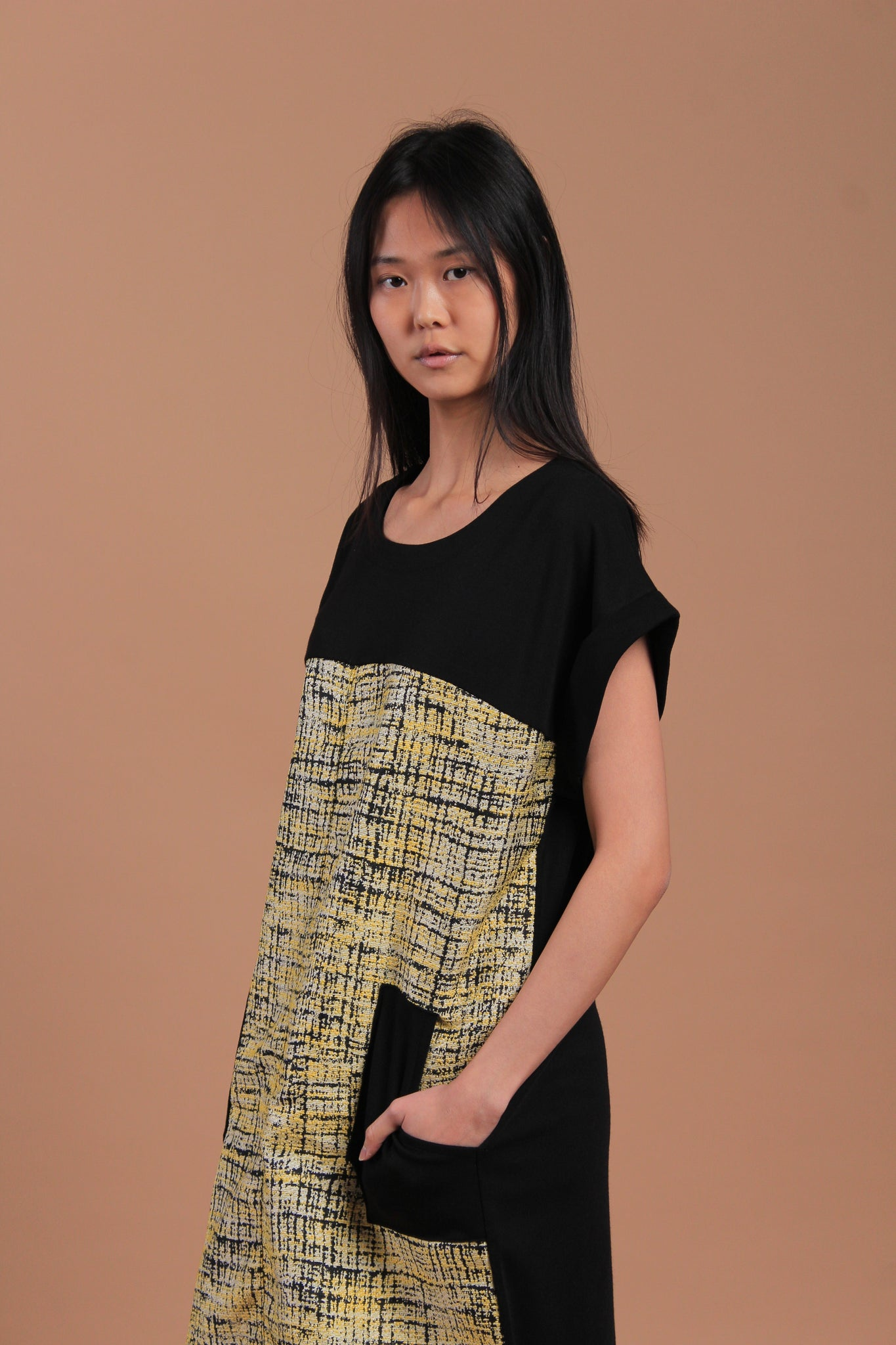 Kimi Tweed Dress Yellow (77674)
