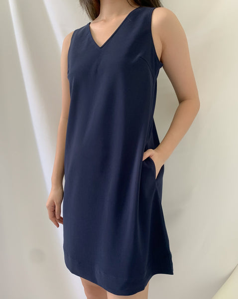 Elia Bow Dress Navy (78359)