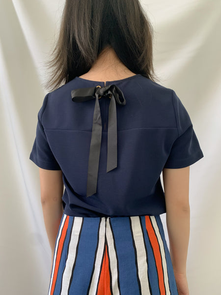Eila Bow Top Navy (18360)