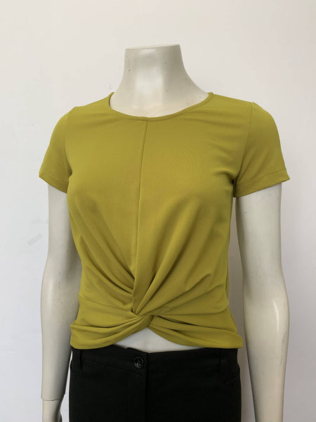 Twist Front Short Sleeve Top Lime (18028)