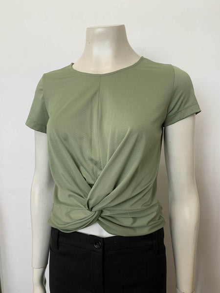 Twist Front Short Sleeve Top Jade (18028)