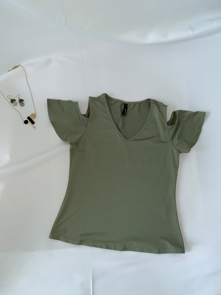 Milana Cold Shoulder Top Khaki (18352)
