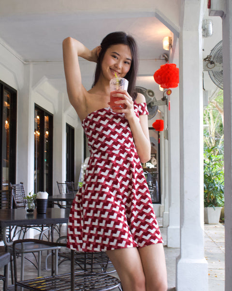 Peak One Shoulder Dress Red (77672)
