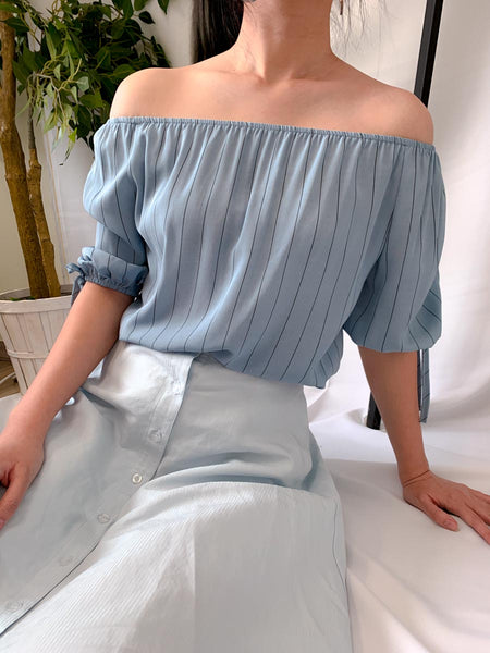 Monty Off Shoulder Top Blue (18476)