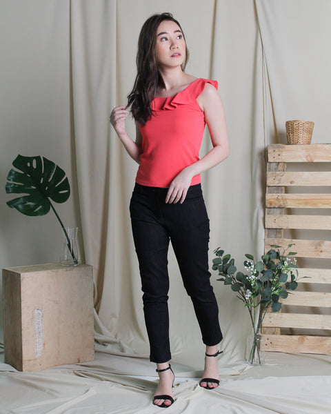 Maddy Ruffle Top Coral (18244)