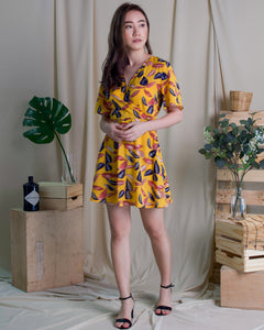 Leaves Wrap  Dress Mustard (78243)