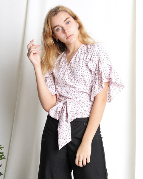 Ellis Wrap Top Pink (18275)