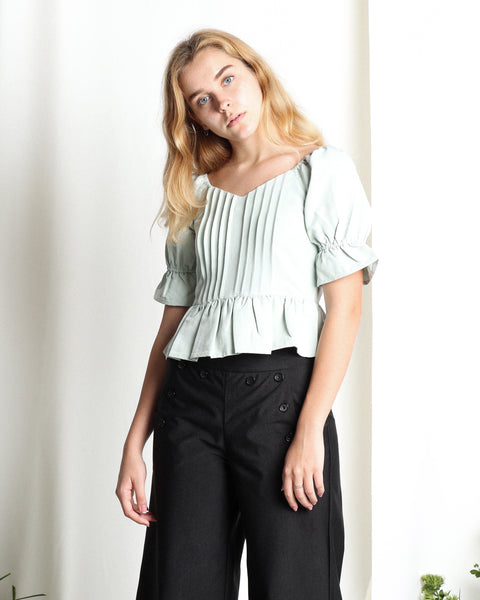 Yarden Puff Sleeve Top Mint (18303)