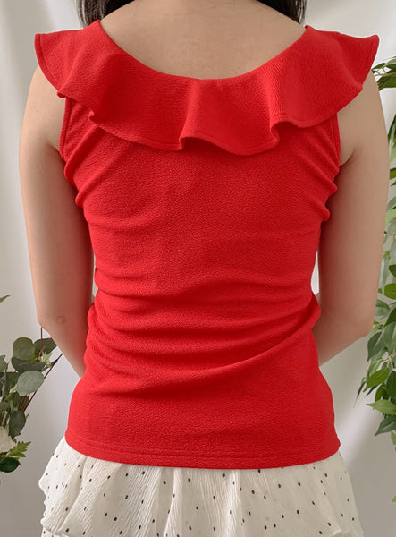 Maddy Ruffle Top Red (18244)