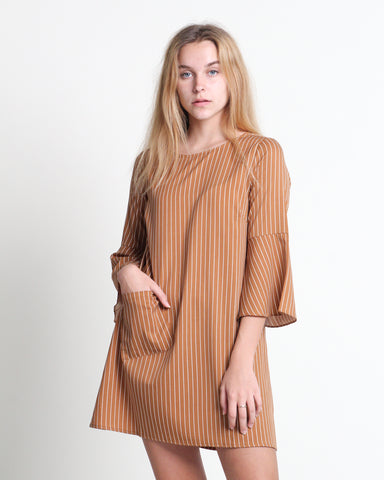 Kaori Stripes Dress Brown (78278)