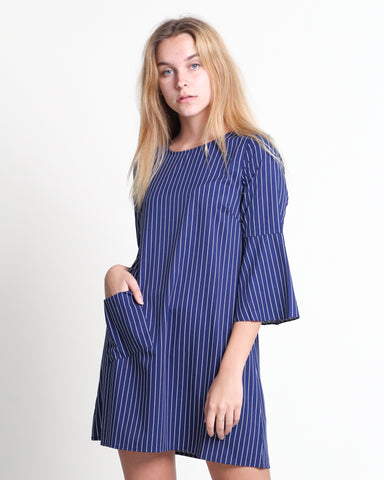 Kaori Stripes Dress Navy (78278)