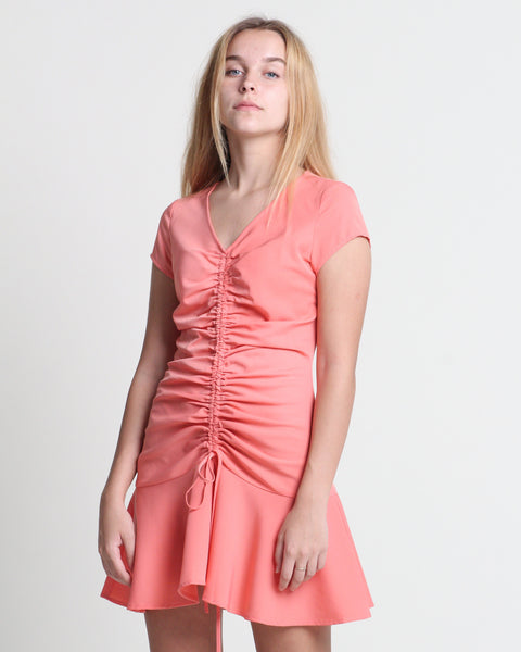 Sha Ruching Dress Coral (78327)