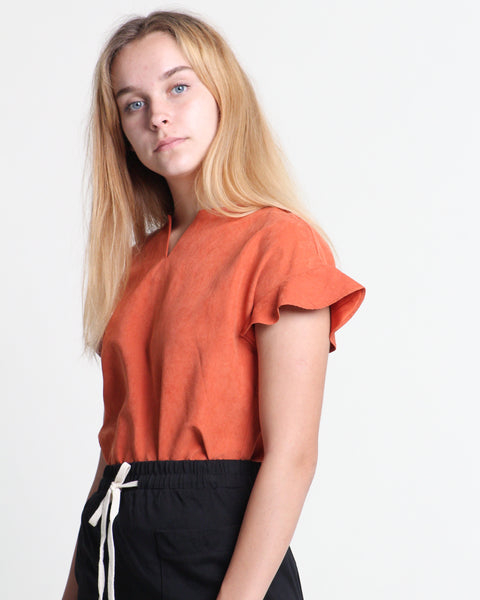 Xiang Xiang Short Sleeve Top Rust (18337)