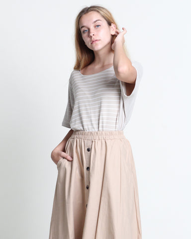 Wen Wen Short Sleeve Top Beige (18333)