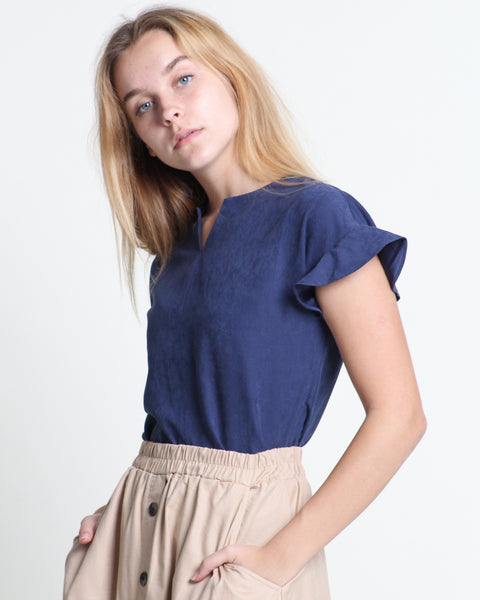 Xiang Xiang Short Sleeve Top Navy (18337)
