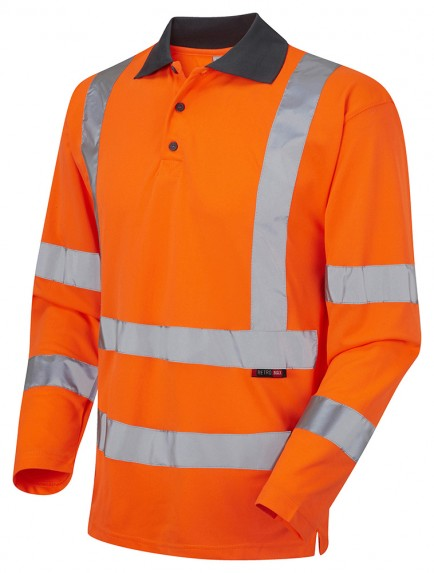 EN 20471 Class 3 Orange Hivis Polo Shirt Long Sleeves (100)