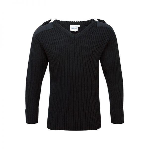 V-Neck Heavy Weight Combat Jumpers In Black And Navy (120V)